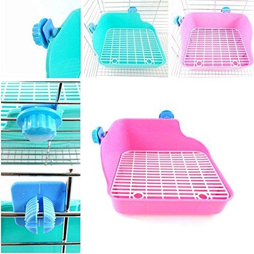 Toruiwa Haustier Töpfchen Quadratische Toilette Kleintierkäfige aus Kunststoff für Kaninchen Chinchillas Meerschweinchen Marder und Kleintie 28 * 22 * 15cm (Rosa)