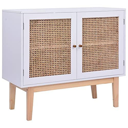 Aparador, Mueble de Almacenamiento Mueble Lateral Mueble Alacena Mueble de Suelo Aparador Blanco 88,5x40x80 cm MDF y Rattan