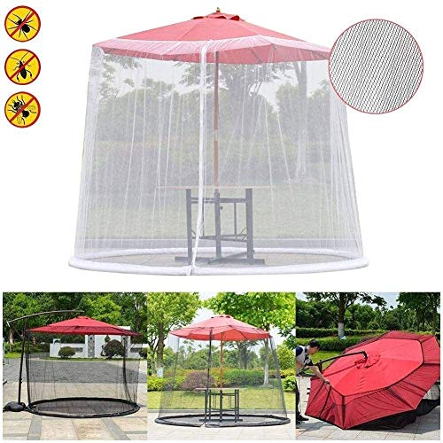 REWD Mosquito Net Cover Netting Cover with Zipper Fits Umbrellas - Excluding Umbrella and Foundation