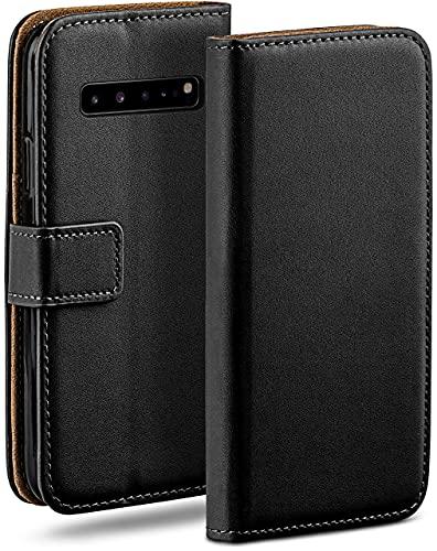 moex Klapphülle für Samsung Galaxy S10 5G Hülle klappbar, Handyhülle mit Kartenfach, 360 Grad Schutzhülle zum klappen, Flip Hülle Book Cover, Vegan Leder Handytasche, Schwarz