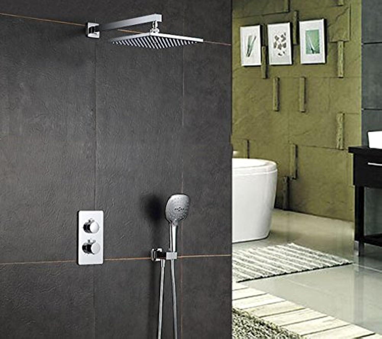 Luxurious shower Kostenloser Versand 10 Zoll thermostatische Mischbatterie Dusche an der Wand montierte Regen & Wasserfall Dusche Armatur mit Handbrause Halter ist 052