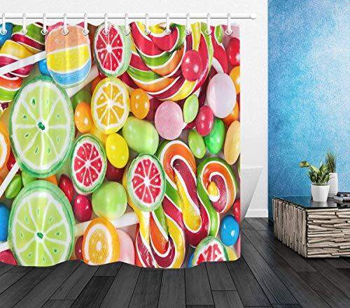 WGEMXC Vorhang, Badezimmer-Vorhang, Seductive Obst Süßigkeiten Duschvorhang Liner Badezimmer Set Polyester-Gewebe Haken 183X183Cm