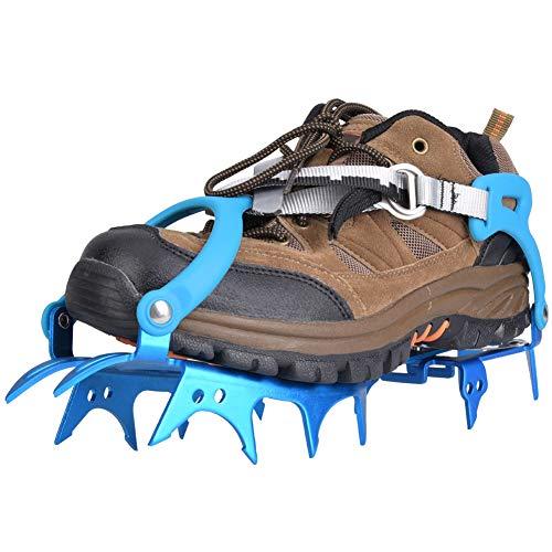 Fournyaa Tacos de tracción para Nieve, 14 Dientes para Escalada, crampones, aleación de Aluminio Universal de Alta Resistencia para Caminatas, Caminatas sobre((43.5 Yards Blue))