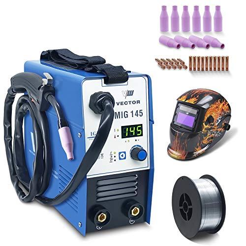 Fülldraht Schweißgerät ohne Gas - Drahtschweißgerät mit 145 Amp & Elektrodenschweißfunktion mit 140 Amp | Auto. Drahtvorschub - Inverter - Auto Schweißhelm - 1 Kg NoGas - Set von Vector Welding