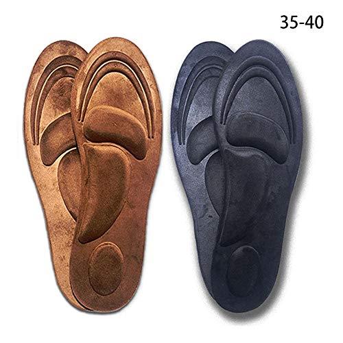 Inserciones de calzado tridimensional 4D para hombres, plantillas espuma viscoelástica | Alivie los pies planos Plantilla esponja suave zapatos elásticos casuales Botas cuero Zapatos deportivos2 pares