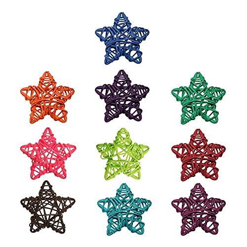 Gmasuber 10 piezas DIY decoración del hogar boda fiesta festival adornos regalo de Navidad Sepak Takraw Pentagrama forma ArtifIcial Rattan Star