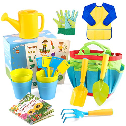 INNOCHEER Kids Gardening Tools with STEM Learning Guide, Watering Can, Gardening Gloves, Shovel, Rake, Trowel & Garden Accessories - Outdoor and Learning Toys All in One Tote( 18 Pieces)