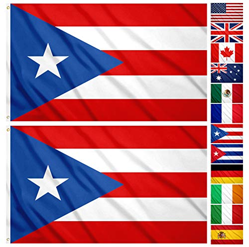 JBCD 2 Pack Puerto Rico Flags 3x5 Foot Outdoor Puerto Rican Flag Banner with Brass Grommets, Durable and UV Fade Resistant