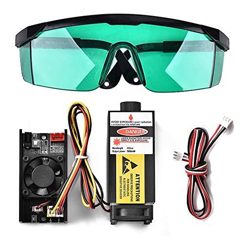 TOPQSC 5500mW 450nm TTL PWM Módulo de láser azul de control, DC 12V Focal Header Laser ajustable, 100-240V Laser Head Module de grabado + gafas para DIY Laser Engraver Machine