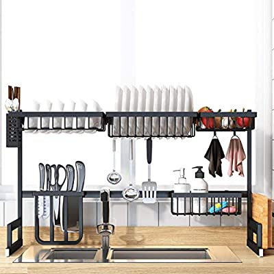 Dish Drying Rack Over the Sink, Stainless Steel Drainer Organizer Shelf for Kitchen Supplies and Countertop Space Saver with Fully Customizable, Large Capacity by