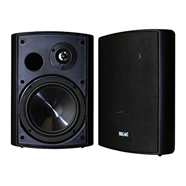 Bluetooth 6.50  Indoor/Outdoor Weatherproof Patio Speakers, Wireless Outdoor Speakers (Black- pair),by Sound Appeal