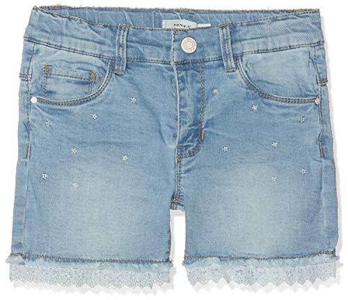 NAME IT Mädchen NMFSALLI DNMBATIRA 1179 Shorts, Blau (Light Blue Denim), (Herstellergröße: 104)