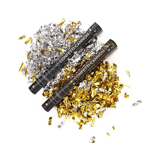 PartyMarty 2X Konfetti-Shooter Gold und Silber 40 cm - Party Popper Konfettikanone Konfettishooter Streamer - für Hochzeit, Party, Geburtstag, Silvester & Co GmbH®