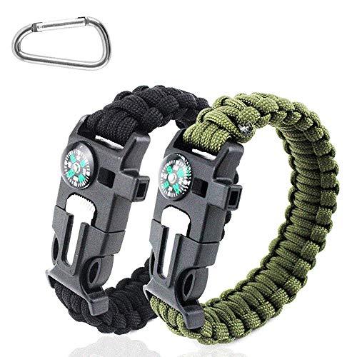 SHEEHAN Century Lot de 2 bracelets 5 en 1 avec boussole et silex - Idéal pour la randonnée, le camping, la pêche et la chasse - Noir et vert armée