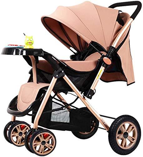 MAMINGBO Plegado del cochecito de bebé for el recién nacido y del niño, de cuatro Cochecito de ruedas, un rebaño de la mano, con la mentira posición de altura de la manija de empuje ajustables