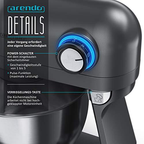 Arendo - leistungsstarke Küchenmaschine 5 Liter – Edelstahl Rührmaschine Knetmaschine – planetarisches Rührsystem - Edelstahlschüssel - inkl. 3 Rührwerkzeuge – 5 Schaltstufen - 1200 W - Cool Grey - 3