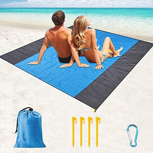 Esterilla Playa,200 x 210 cm Manta Picnic Impermeable,Alfombra de Playa,Manta Playa Anti-Arena ,Grande Estera de Playa con 4 Estaca Fijos para la Playa,Picnic,Acampa y Al Aire Libre
