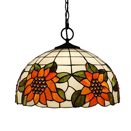 Beleuchtung Tiffany Stil Pendelleuchten, Titania Antike und mit Juwelen Uplighter Sunflower Design Deckenleuchte Anhänger Glasmalerei Schatten, 13 * 20 Cm