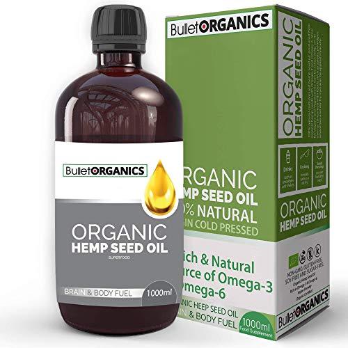 Bullet Organics - Organic Cold Pressed Hemp Seed Oil | Vegan Unrefined Hemp Seed Oil | Certified Organic | Slightly Nutty Flavour and Odour (1000ML)