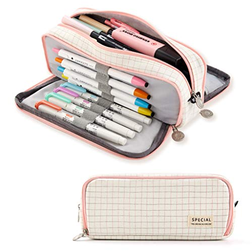 ANGOOBABY Large Pencil Case Big Capacity 3 Compartments Canvas Pencil Pouch for Teen Boys Girls School Students (Small Grid Pink)