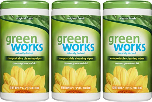 Green Works Compostable Cleaning Wipes, Biodegradable Cleaning Wipes - Unscented, Free & Clear 62...