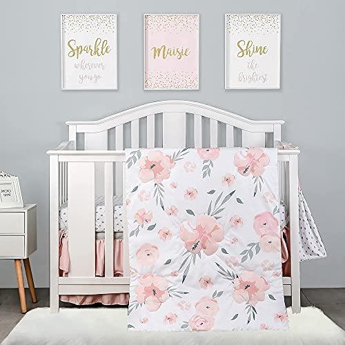 4-Piece Crib Bedding Set for Girls by PINNKKU, Baby Girl Crib Bedding Set, White, Blush Pink Flower Crib Skirt, Blanket, Crib Sheet and Diaper Stacker, Crib Sets for Girls, Baby Bedding