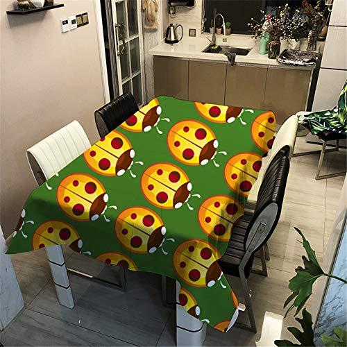 Morbuy Tischdecke 3D Karikatur Druck - Tischdecken Wasserdicht Lotuseffekt Abwischbar Abwaschbar Rechteckig Quadratisch Tischtuch für Dekoration Küche Garten Outdoor (Marienkäfer,90x90cm)