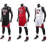 Bulls Jordan#23 Camiseta de Baloncesto para Hombres Chicago Bulls Retro Chaleco de Gimnasia Tops y Pantalones Deportivo (Blanco, 3XL)