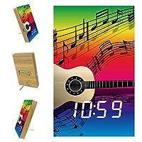 寝室用デジタル目覚まし時計キッチンオフィス3アラーム設定ラジオ木製卓上時計-ギター音楽カラフルレインボー