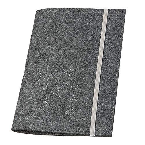 MUTTERPASS HÜLLE aus Filz, grau/Sterne (Farbauswahl) mit Gummibandverschluss & Lesezeichen