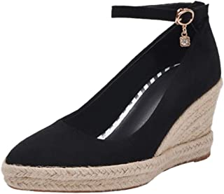 BeiaMina Women Classic Wedge Heel Court Shoes Woven