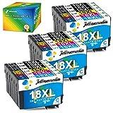 Cartuchos de tinta 18XL para Epson Expression Home XP-205, XP-215, XP-225, XP-305, XP-312, XP-315, XP-322, XP-325, XP-405, XP-412, XP-415, XP-422 y XP-425 (18 unidades)