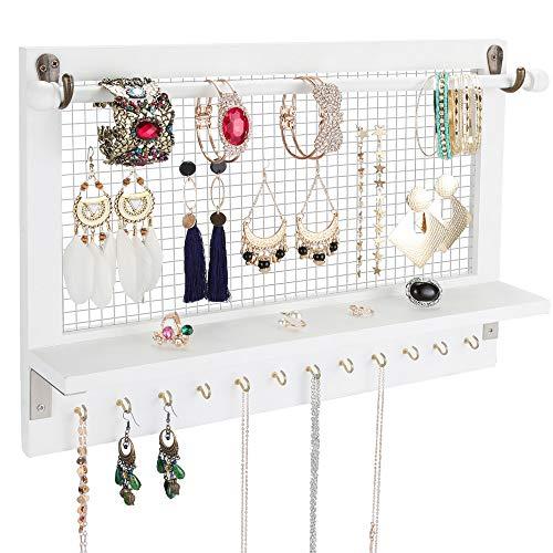 Vencipo Schmuckhalter Wand für Halsketten Organizer mit 12 Haken, Schmuckständer Wandregal Holz für Armbänder Hänge Aufbewahrung, Wandhalterung Schmuckdisplay für Ohrringe, Ketten, Uhren.