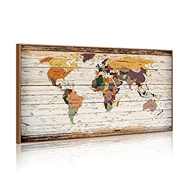 XXLarge 32 x55  Vintage World Map Canvas Prints Atlas Framed Map Wall Art Decor for Travel Push Pins Marks Large Map Wall Decor (6 Retro Floater Frame)