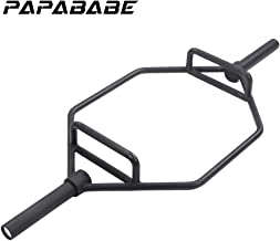 """PAPABABE Trap Bar, Shrug Bar, Hex Bar for Olympic Weight Lifting and Bodybuilding, 2"""""""