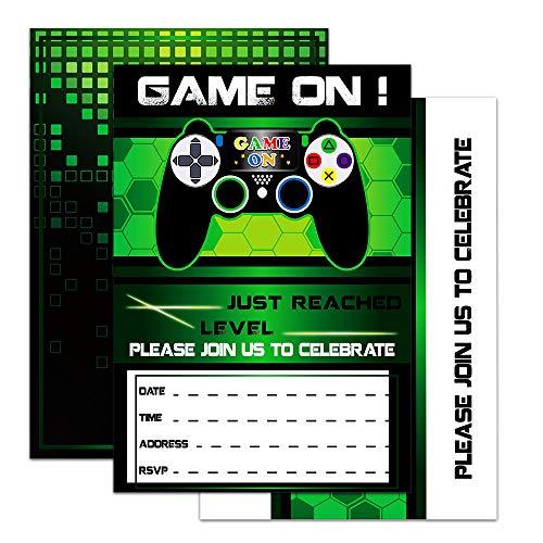 WERNNSAI Videospiel Einladung - 20 Set Magisch Ergänze Spiel Party Einladung mit Umschläge für Kinder Jungs Spieleliebhaber Geburtstag Baby Shower Spiel Themen Party Zubehör