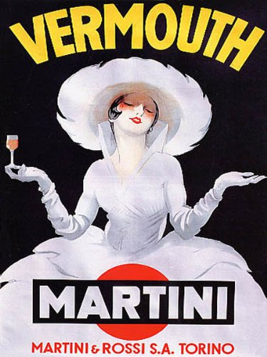 """Price comparison product image WONDERFULITEMS Vermouth Martini Rossi Torino Italian Woman All in White Holding Small Glass Italy 12"""" X 16"""" Image Size Vintage Poster REPRO"""