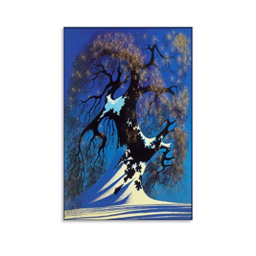 XYDD Eyvind Earle Winter Bonsai Canvas Art Poster and Wall Art Picture Print Modern Family Bedroom Decor Posters 24x36inch(60x90cm)