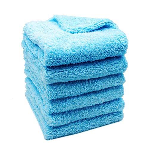 YuuHeeER Toalla de secado para coche, de alta calidad, sin bordes, con detalles de microfibra, súper absorbente, color azul, paquete de 6