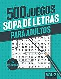 500 Sopa de Letras Adultos: Libro de Sopa de letras para adultos mayores con soluciones - Vol 2