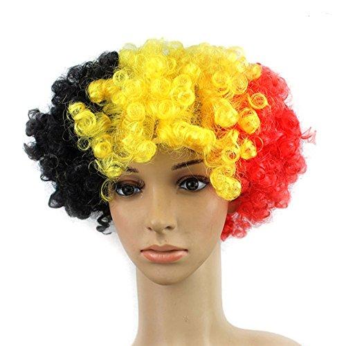 Jkabcd 1PCS alta qualità colorato Beatiful Cosplay parrucche per donne, uomini Cheerleaders tifosi Curl parrucca per sport voce costume