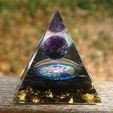 KDHJY Alta qualità Orgonite Piramide 60 Millimetri di Cristallo Amethyst Sfera con Ossidiana Cristal Natural Stone Orgone Energy Chakra Moltiplicatore di Ametista (Size : 60mm)