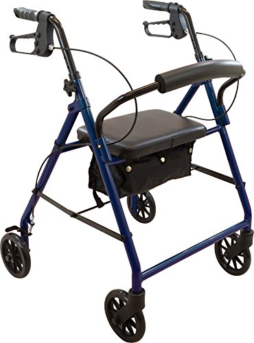 ProBasics Medical Rolling Walker with Wheels - 4 Wheel Walker with Seat, Backrest and Storage Pouch - Rollator Walker for Seniors - Durable Steel Frame Supports up to 300 lbs, 6-inch Wheels, Blue