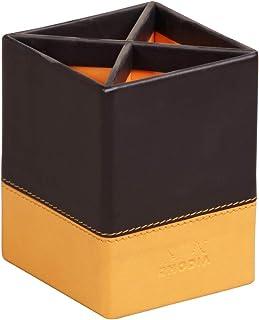 RHODIA 118816C - Pot à Crayons Noir - 8x8x11 cm - Piqûres Sellier Orange - Extérieur Simili Cuir - Collection Home Office ...
