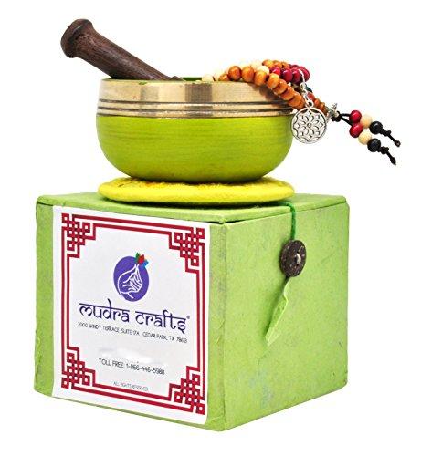 Mudra Crafts Tibetan Himalayan 7 Chakra Sound Healing Singing Bowl Gift Set (Solar Plexus Chakra)