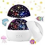 Funkprofi LED Sternenprojektor Lampe, 360 Grad Rotierenden Projektionslampe mit Sternenhimmel und Ozean Lichtprojektion Farben ändern Warme Nachtlicht für Kinder…