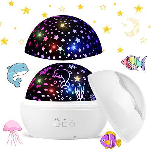 Funkprofi LED Sternenprojektor Lampe, 360 Grad Rotierenden Projektionslampe mit Sternenhimmel und Ozean Lichtprojektion Farben ändern Warme Nachtlicht für Kinder