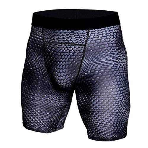 Men's Snake Skin Printed Performance Compression Shorts Stretch Pockets Quick Dry UV Protection Running Tights (Black, M)