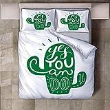 NBSZZDKL Colchas de Estampada-Ropa de Cama de 3 Piezas - 1x Cubierta de la Colcha 200x220cm y 2 x Funda de Almohada 50x75cm-Lavable de Microfibra Suave y Cómodo Cactus Verde