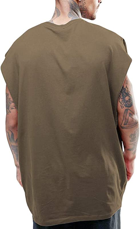RoDeke Mens Summer Casual Loose Sleeveless Solid Color Round Neck Soft Muscle Slim Fit Tank Top Shirts